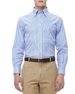 Peter Millar Gingham Sport Shirt, Blue/White