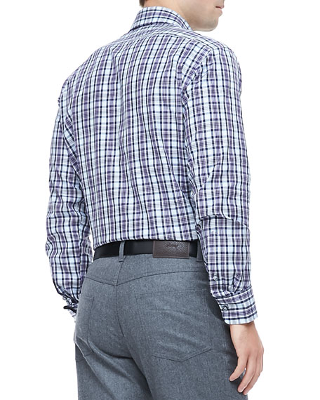 Plaid Sport Shirt, Blue/Purple