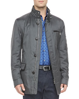 Brioni Car Coat with Piping Detail, Gray