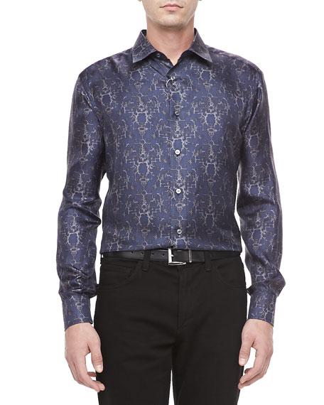 Geometric-Print Sport Shirt, Navy