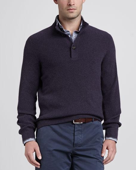 4-Ply Cashmere Button-Neck Pullover, Eggplant