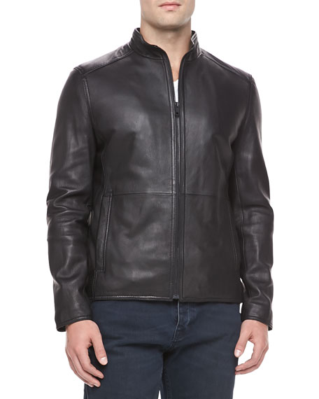 Smooth Leather Jacket, Black