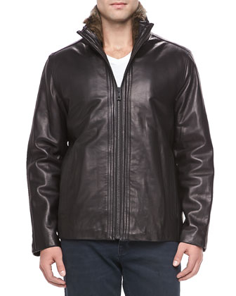 Motorcycle Leather Jacket, Black
