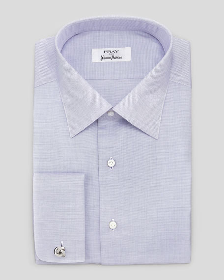 Fray French Cuff Textured Dress Shirt Purple