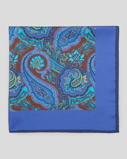 Kiton Paisley-Center Silk Pocket Square, Lavender