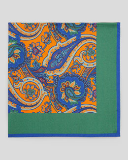 Kiton Paisley-Center Silk Pocket Square, Green