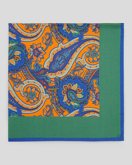 Paisley-Center Silk Pocket Square, Green