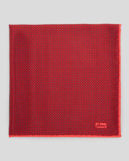 Brioni Medallion Micro-Neat Foulard Square, Red