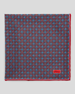 Brioni Medallion Neat Foulard Square, Red