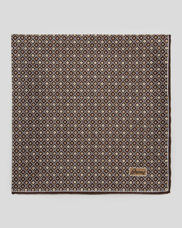 Brioni Medallion Neat Foulard Square, Brown