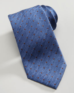 Brioni Dotted Herringbone Silk Tie, Blue