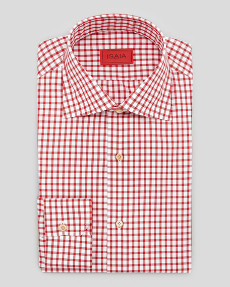 Box Check Dress Shirt, Red