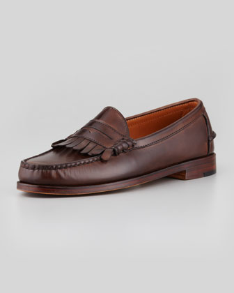 Burnished Leather Slip-On Shoe, Brown