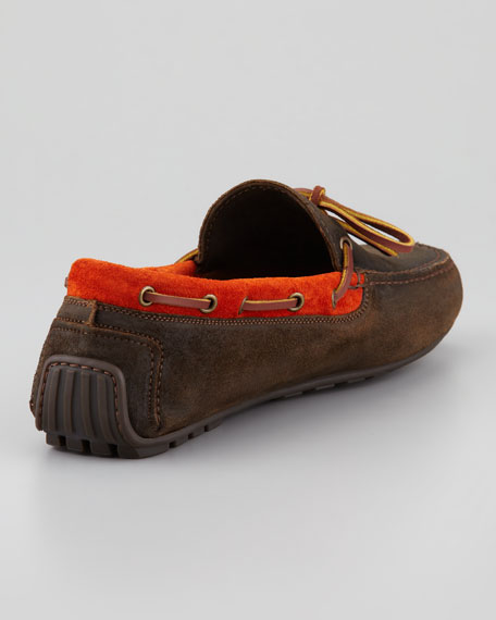 Suede Driver, Orange/Brown