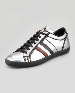 Moncler Monaco Low-Top Leather Sneaker, Silver