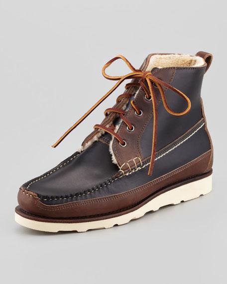 Berwick USA Shearling-Lined Boot, Black/Brown