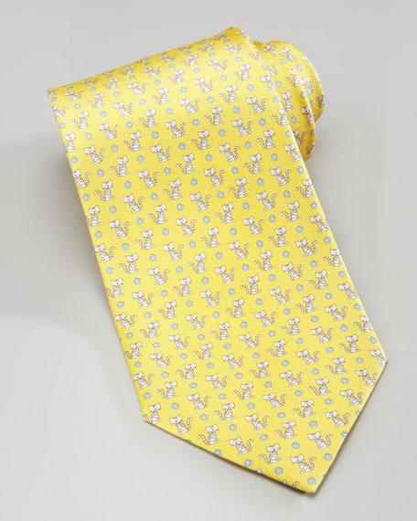 f721a19e677a Salvatore Ferragamo Cat-Print Silk Tie, Yellow