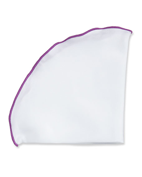 Edward Armah Contrast-Border Silk Pocket Circle, Purple/White