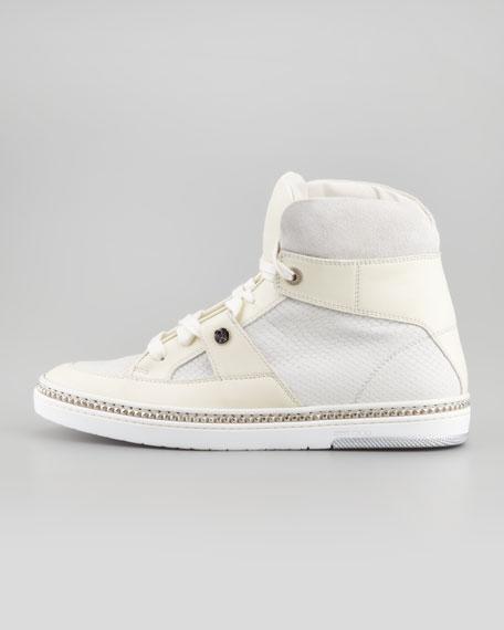 Barlowe Men's Viper-Print High-Top Sneaker, White