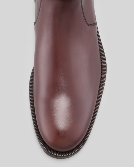 Leather Lugged-Sole Boot, Burgundy