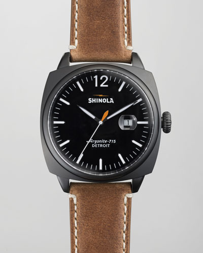 Shinola 46mm Brakeman Men's Watch, Black/Brown