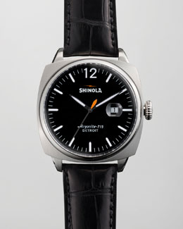 Shinola 46mm Brakeman Alligator Men's Watch, Black