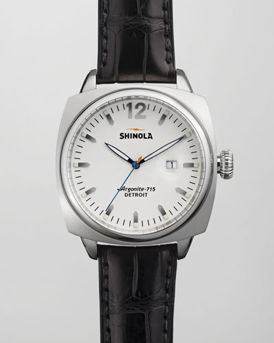 Shinola Brakeman Alligator Men's Watch, White/Black