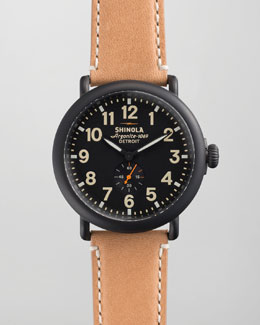 Shinola 47mm Runwell Men's Watch, Black/Tan