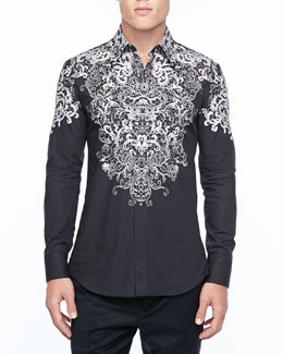Alexander McQueen Long-Sleeve Shirt with Silver Lace Print, Black