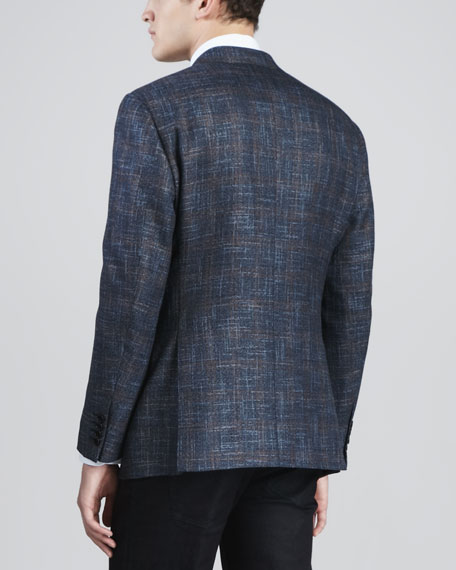 Hopsack Two-Button Sport Coat, Blue/Brown