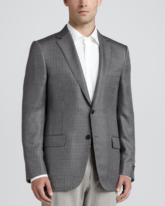 Tic-Weave Sport Coat, Black/White