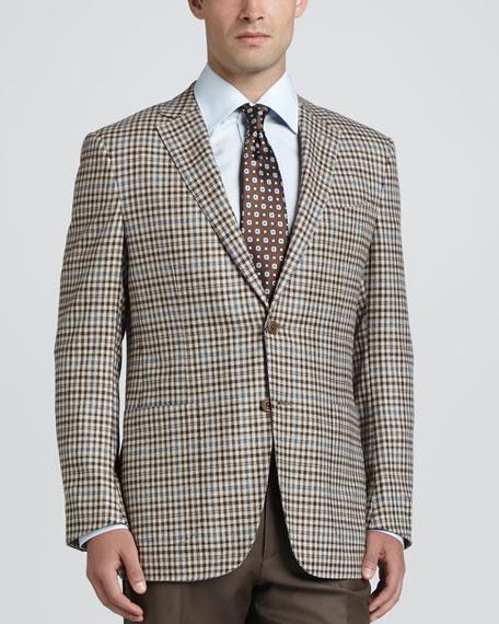 Check Wool/Cashmere Blazer, Beige/Blue