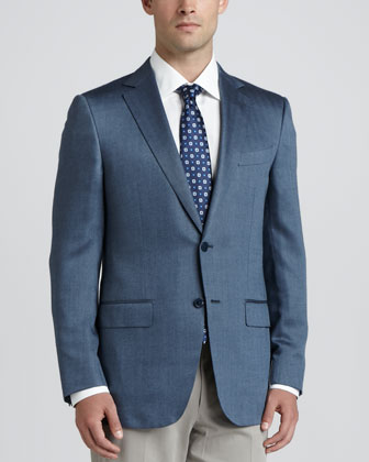 Herringbone Cashmere/Silk Sport Coat, Blue