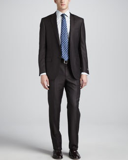 Ermenegildo Zegna Pinstripe-Herringbone Suit, Brown/Gray
