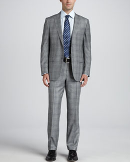 Ermenegildo Zegna Glen Plaid Two-Piece Suit, Black/White/Blue