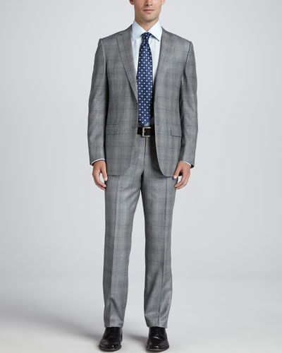Ermenegildo Zegna Glen Plaid Two-Piece Suit, Black/White/Blue