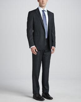 Ermenegildo Zegna Pinstripe Wool Suit, Charcoal/Blue