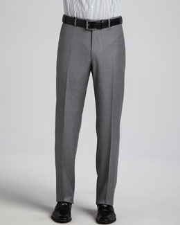 Ermenegildo Zegna Heathered Wool Trousers, Gray