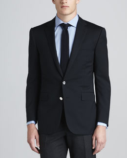 Ralph Lauren Black Label Wool-Crepe Two-Button Blazer, Navy