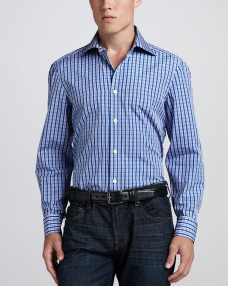 Check Poplin Dress Shirt, Blue/White