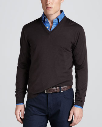 V-Neck Pullover Sweater, Brown