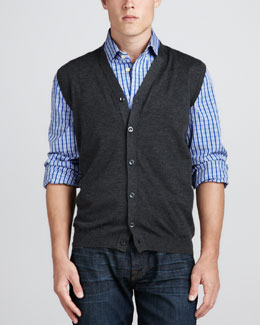 Kiton Cardigan Sweater Vest, Gray
