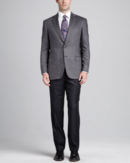 Brioni Tic-Weave Sport Coat, Gray