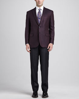 Brioni Darted Two-Button Blazer, Burgundy