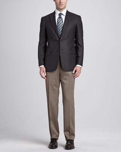 Brioni Nailhead Weave Sport Coat, Charcoal/Brown
