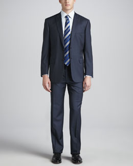 Brioni Wool Peak-Lapel Suit, Blue