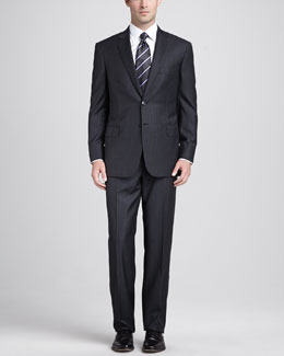 Brioni Box-Check Two-Piece Suit, Charcoal