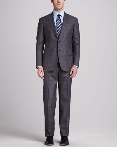 Brioni Plaid Two-Piece Suit, Gray/Wine