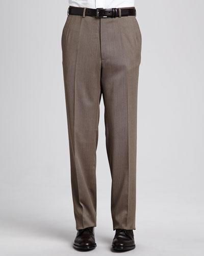 Brioni Flat-Front Twill Pants, Tan
