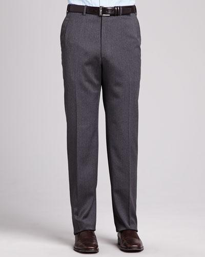 Brioni Flat-Front Twill Pants, Gray